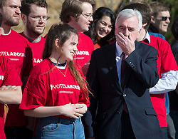 © Licensed to London News Pictures. 03/05/2016. London, UK.  Labour Party shadow chancellor John McDonnell attends the launch of an election poster ahead of local and mayoral elections to be held on Thursday May 5th 2016.  Photo credit: Peter Macdiarmid/LNP