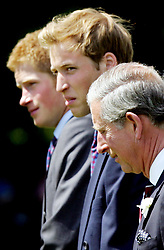 Left to right: Britain's Prince Harry, Prince William amd the Prince of Wales during the official opening of a fountain built in memory of Diana, Princess of Wales, in London's Hyde Park. The   3.6 million creation at the side of the Serpentine has been surrounded by controversy - facing delays and over-running its budget by  600,000. The Princess died in a car crash in Paris in August 1997.