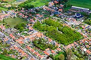 Nederland, Zeeland, Gemeente Borssele, 09-05-2013; Zuid-Beveland, het dorp Borssele met symmetrisch stratenpatroon. In het midden Plein met Catharinakerk, voorbeeld van Waterstaatskerk.<br /> Village Borssele, streetplan with symmetrical pattern.<br /> luchtfoto (toeslag op standard tarieven)<br /> aerial photo (additional fee required)<br /> copyright foto/photo Siebe Swart