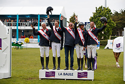 Team France, Bost Roger Yves, Staut Kevin, Guerdat Philippe, Leprevost peneloppe, Angot Cedric<br /> FEI Nations Cup presented by Longines<br /> Longines Jumping International de La Baule 2017<br /> © Hippo Foto - Dirk Caremans<br /> 12/05/2017