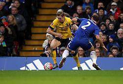 Kevin van Veen of Scunthorpe United takes on Branislav Ivanovic of Chelsea - Mandatory byline: Robbie Stephenson/JMP - 10/01/2016 - FOOTBALL - Stamford Bridge - London, England - Chelsea v Scunthrope United - FA Cup Third Round