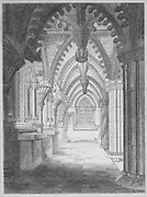 Engraving of  Roslyn Chapel, Midlothian, Scotland drawing by J Elmes 1811