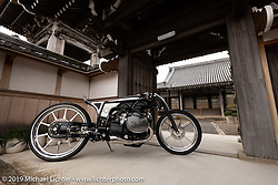 Yuichi Yoshizawa and Yoshikazu Ueda's Custom Works Zon BMW R18 custom with a prototype boxer engine at the Buddhist Temple next to their shop in Shiga, Japan. Thursday, December 6, 2018. Photography ©2018 Michael Lichter.