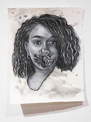April 26, 2018 - Tampa, Florida, U.S. - A charcoal portrait of Parkland victim Helena Ramsey, by Symone Hall in the BFA show at the Scarfone/Hartley Gallery at the University of Tampa, on April 26, 2018 in Tampa, Fla. (Credit Image: © Monica Herndon/Tampa Bay Times via ZUMA Wire)