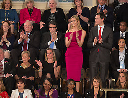 Ivanka Trump with husband and presidential advisor Jared Kushner applaud as U.S. President Donald J. Trump addresses a joint session of Congress on Capitol Hill in Washington, DC, USA, February 28, 2017. Photo by Chris Kleponis/CNP/ABACAPRESS.COM