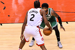 October 19, 2018 - Toronto, Ontario, Canada - Kawhi Leonard #2 of the Toronto Raptors with the ball during the Toronto Raptors vs Boston Celtics NBA regular season game at Scotiabank Arena on October 19, 2018 in Toronto, Canada (Toronto Raptors win 113-101) (Credit Image: © Anatoliy Cherkasov/NurPhoto via ZUMA Press)