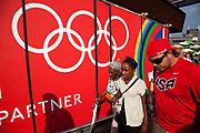 London, UK. Thursday 9th August 2012. London 2012 Olympic Games Park in Stratford. Coca Cola sponsorship on the walkway.