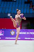 Demirors Derya during the qualification at ball in World Cup Pesaro 2018. Derya is a Turkey athlete of rhythmic gymnastics born in Konak in 2002.