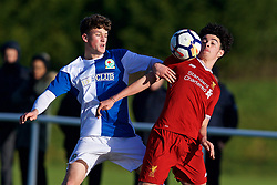 BLACKBURN, ENGLAND - Saturday, January 6, 2018: Liverpool's Curtis Jones and Blackburn Rovers' Jack Vale during an Under-18 FA Premier League match between Blackburn Rovers FC and Liverpool FC at Brockhall Village Training Ground. (Pic by David Rawcliffe/Propaganda)