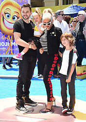 July 23, 2017 - Westwood, California, U.S. - Christina Aguilera, Matthew Rutler, Max Liron Bratman, Summer Rain Rutler arrives for the premiere of the film 'The Emoji Movie' at the Regency Village theater. (Credit Image: © Lisa O'Connor via ZUMA Wire)
