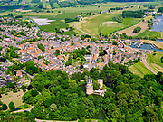Nederland, Gelderland, Wijk bij Duurstede, 27-05-2020; centrum van de oude stad, gelegen aan rivier de Lek met onder andere de oude Sint-Jan de Doperkerk en de Sint Johannes de Doperkerk. Kasteel Duurstede in de voorgrond.<br /> Center of the old town, situated on the river Lek.<br /> luchtfoto (toeslag op standaard tarieven);<br /> aerial photo (additional fee required)<br /> copyright © 2020 foto/photo Siebe Swart