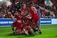Rugby Union - 2021 / 2022 Gallagher Premiership - Round One - Bristol vs Saracens - Ashton Gate - Friday 17th September 2021<br /> <br /> Saracens' Alex Lewington (floor) celebrates scoring his sides first try.<br /> <br /> COLORSPORT/Ashley Western