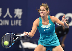 November 3, 2017 - Julia Goerges of Germany hits a return during the singles match against Kristina Mladenovic of France at the 2017 WTA Elite Trophy tennis tournament in Zhuhai, south China's Guangdong Province. Goerges won by 2-0. (Credit Image: © Lu Hanxin/Xinhua via ZUMA Wire)