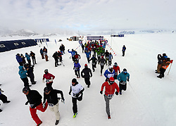 © Licensed to London News Pictures. Union Glacier, Antarctica. The start line of The 9th edition of the Antarctic Ice Marathon. The Ice Marathon took place at Union Glacier, Antarctica, and is  recognised as the world's southernmost marathon and the only official running event within the Antarctic Circle, taking place just a few hundred miles from the South Pole at the foot of the Ellsworth Mountains. Temperatures were an ice cool -21C when the event got underway at 13:10 GMT on Wednesday 20  November. A total of 56 athletes from 21 countries took part in the ninth edition of the event, which is  an essential race for marathon runners seeking to join the Seven Continents Marathon Club. Photo credit: Mike King/LNP