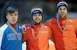 24-01-2015 NED: ISU European Championships Shorttrack, Dordrecht<br /> In een volgepakt hal weet Sjinkie Knegt Europees kampioen op de 1500 meter te worden. In een rechtstreeks duel verslaat hij Victor An en Daan Breeuwsma die het brons pakte