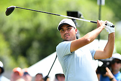 May 3, 2019 - Charlotte, NC, U.S. - CHARLOTTE, NC - MAY 03: Jason Day watches the ball down the fairway on the 9th hole in round two of the Wells Fargo Championship on May 03, 2019 at Quail Hollow Club in Charlotte,NC. (Photo by Dannie Walls/Icon Sportswire) (Credit Image: © Dannie Walls/Icon SMI via ZUMA Press)