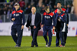 Bristol Rugby Director of Rugby Andy Robinson and his coaching staff look frustrated after losing the match - Rogan Thomson/JMP - 20/10/2016 - RUGBY UNION - The Recreation Ground - Bath, England - Bath Rugby v Bristol Rugby - EPCR Challenge Cup.