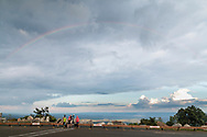 High Point, New Jersey - A rainbow was visible in the sky before the start of the Shawangunk Ridge Trail Run/Hike 70-mile race at High Point State Park on Sept. 15, 2017.