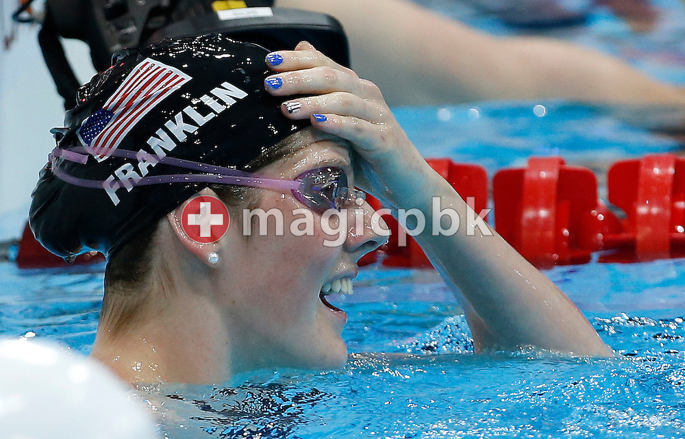 Winner Melissa (Missy) Franklin of the United States of America (USA) reacts after competing in the women's 100m Backstroke Final  during the Swimming competition held at the Aquatics Center during the London 2012 Olympic Games in London, Great Britain, Monday, July 30, 2012. (Photo by Patrick B. Kraemer / MAGICPBK)