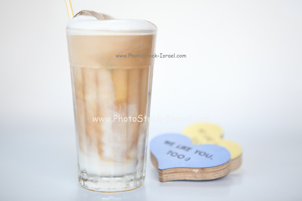 A glass of iced cappuccino On white background