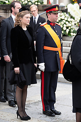 Crown Grand Duke Guillaume of Luxembourg and Crown Grand Duchess Stephanie of Luxembourg get out the cathedral Notre-Dame after the funeral of Grand Duke Jean of Luxembourg on May 4, 2019 in Luxembourg City, Luxembourg.<br /> Grand Duke Jean of Luxembourg has died at 98, April 23, 2019.<br /> (Photo by David Niviere/ABACAPRESS.COM)