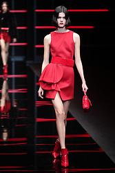 February 21, 2019 - Milan, Italy - A model on the runway during the Emporio Armani Fashion Show MFW Women's Fall/Winter 2019/2020, Milan, Italy. (Credit Image: © Canio Romaniello/Soevermedia via ZUMA Press)