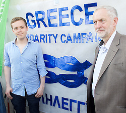 Jeremy Corbyn Owen Jones at the Greece Solidarity Campaign Rally in Trafalgar Square London, Great Britain 29th June 2015 <br /> <br /> Greece Solidarity Campaign Rally<br /> <br /> <br /> Photograph by Elliott Franks <br /> Image licensed to Elliott Franks Photography Services