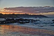 View of Nobbys Beach at sunset, Port Macquarie, NSW, Australia.