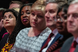 © Licensed to London News Pictures . 24/09/2019. Brighton, UK. The Labour front bench , including SHAMI CHAKRABARTI , DAWN BUTLER , EMILY THORNBERRY , KEIR STARMER , DIANE ABBOTT , JOHN MCDONNELL , listens as Jeremy Corbyn delivers the leader's speech a day early , on the fourth day of the 2019 Labour Party Conference from the Brighton Centre , after the Supreme Court ruled that Boris Johnson's suspension of Parliament was unlawful . Photo credit: Joel Goodman/LNP