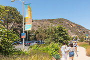 Tourists Walking on Laguna Canyon Rd to the Art Festival