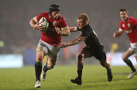 Rugby Union - 2017 British & Irish Lions Tour of New Zealand - Maori All Blacks vs. British & Irish Lions<br /> <br /> Sean O'Brien of The British and Irish Lions tackled by Damian McKenzie of Maori All Blacks at Rotorua International Stadium, Rotorua.<br /> <br /> COLORSPORT/LYNNE CAMERON