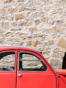 A red Citroen 2CV, Dordogne, France