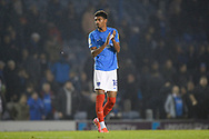 Reeco Hackett-Fairchild (18) of Portsmouth applauds the fans at full time during the EFL Sky Bet League 1 match between Portsmouth and Ipswich Town at Fratton Park, Portsmouth, England on 19 October 2021.