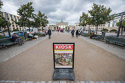 16 September 2021, Berlin, Germany: Sign marketing a kiosk at the historical site of Unter den Linden in Berlin.