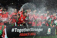 The Wales players celebrate after the match as the team qualify for Euro 2016 finals.  Wales v Andorra, Euro 2016 qualifying match at the Cardiff city stadium  in Cardiff, South Wales  on Tuesday 13th October 2015. <br /> pic by  Andrew Orchard