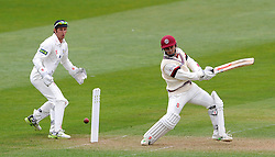 Somerset's Johann Myburgh cuts the ball off the bowling of Durham's John Hastings- Photo mandatory by-line: Harry Trump/JMP - Mobile: 07966 386802 - 12/04/15 - SPORT - CRICKET - LVCC County Championship - Day 1 - Somerset v Durham - The County Ground, Taunton, England.