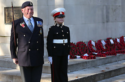 Portsmouth,Hampshire Friday 11th November 2016 <br /> <br /> Portsmouth fell silent this morning to remember the lives of those lost in war.<br /> <br /> <br /> As part of Armistice Day there was be a two-minute silence held at 11am in the Guildhall square with a two gun salute marking the two minutes.<br /> <br /> There was a special remembrance service at the Guildhall cenotaph beginning at 10.50am, with prayers being said. ©UKNIP