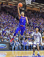 Devon Dotson #1 of the Kansas Jayhawks drives in for a basket during the first half against the Kansas State Wildcats at Bramlage Coliseum on February 29, 2020 in Manhattan, Kansas.