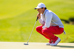 May 05, 2016 - Charlotte, NC, USA - RORY MCILROY of Northern Ireland on the 18th green during the PGA Wells Fargo Championship at Quail Hallow Country Club in Charlotte, NC. (Credit Image: © David Grooms/Cal Sport Media/CSM via ZUMA Wire)
