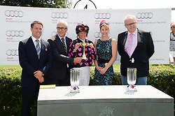 MICHAEL OWEN, JON ZAMMETT, PHILIPPA HOLLAND, DARCEY BUSSELL and ANDREW BLACK winners of the Magnolia Cup 2013 at the 3rd day of the 2013 Glorious Goodwood racing festival - Ladies day at Goodwood Racecourse, West Sussex on 1st August 2013.
