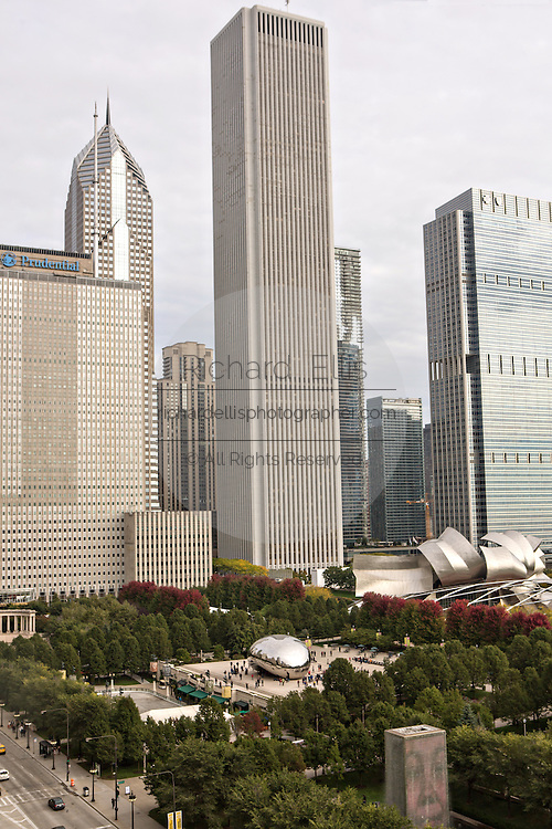 Aerial view of the from the Cliff Dwellers Club of Aon Center and Millennium Park in Chicago USA