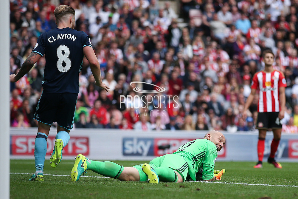 Middlesbrough goalkeeper Brad Guzan (12) happy with his save during the Premier League match between Sunderland and Middlesbrough at the Stadium Of Light, Sunderland, England on 21 August 2016. Photo by Simon Davies.