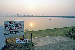 Hippo Warning Sign, Shire River With Hippopotamus Close Bye