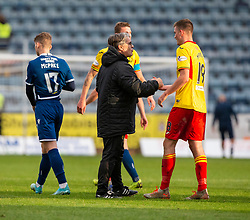 Partick Thistle's manager Ian McCall with Partick Thistle's third goal scorer Lewis Mansell at the end. Dundee 1 v 3 Partick Thistle, Scottish Championship game player 19/10/2019 at Dundee stadium Dens Park.