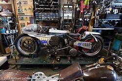 Shinya Kimura's  blown 1946 Harley-Davidson Knucklehead Land Speed Racer inside his Chabott Engineering shop in Azusa, CA. USA. Wednesday June 27, 2018. Photography ©2018 Michael Lichter.