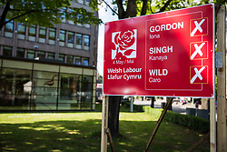 Cardiff, UK. 2nd May, 2017. A Cardiff Council election sign for Welsh Labour is pictured outside the Unite the Union building in the constituency of Riverside.