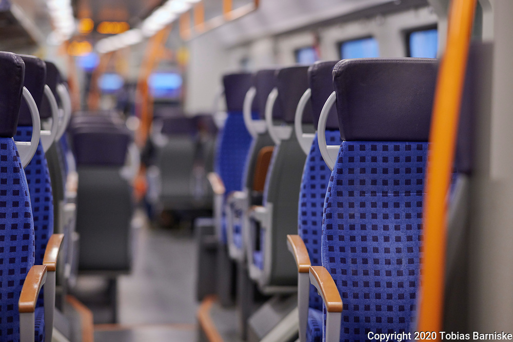 Corona pandemic in Germany: Ride in a compartment without other passengers.