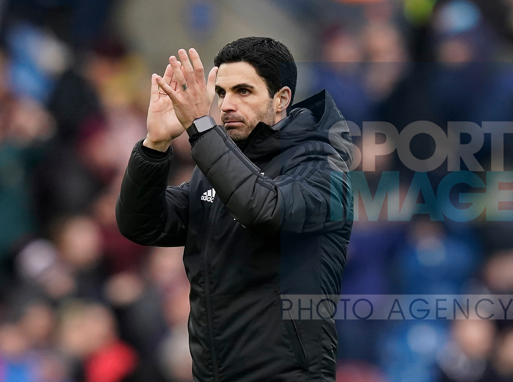 Mikel Arteta manager of Arsenal applauds the fans during the Premier League match at Turf Moor, Burnley. Picture date: 2nd February 2020. Picture credit should read: Andrew Yates/Sportimage
