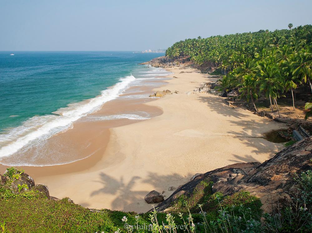 A deserted beach near Kovalam and Trivandrum (Thiruvananthapuram), Kerala, India