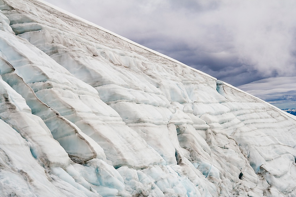 Detail of ice layers on the edge of the Sulphide Glacier on Mount Shuksan, North Cascades National Park, Washington.